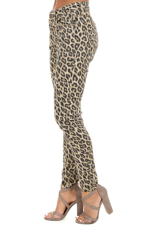 Cream and Mocha Leopard Print Mid Rise Skinny Jeans side view