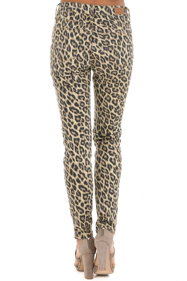 Cream and Mocha Leopard Print Mid Rise Skinny Jeans back view
