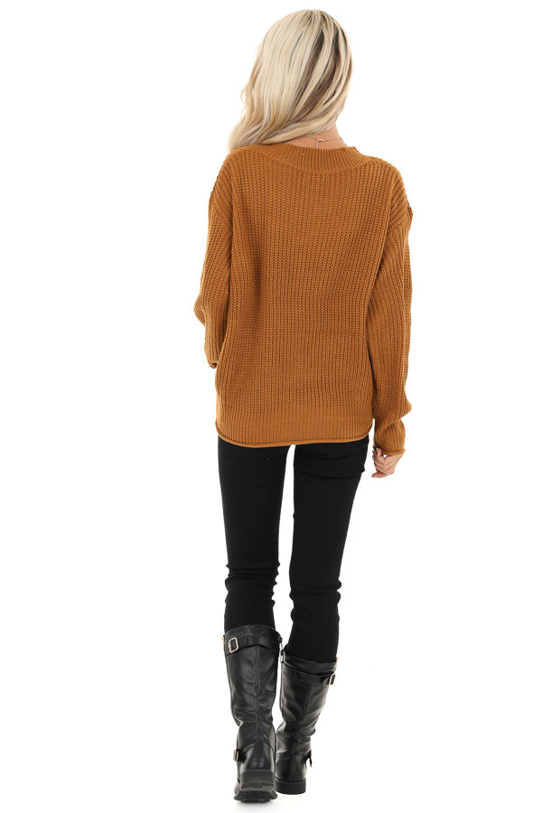 Copper Ribbed Knit Long Sleeve Sweater Top with V Neckline back full body