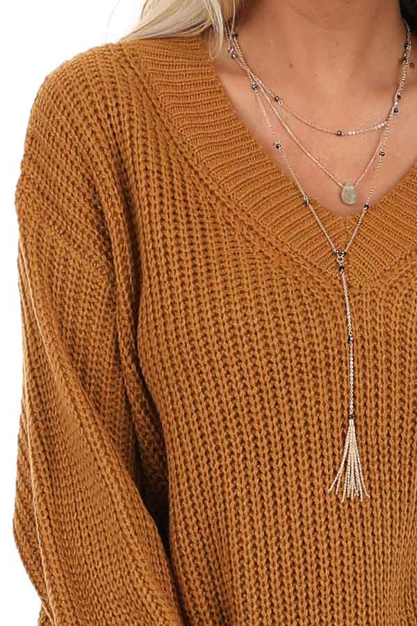 Copper Ribbed Knit Long Sleeve Sweater Top with V Neckline detail