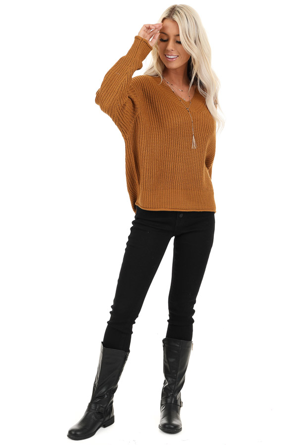 Copper Ribbed Knit Long Sleeve Sweater Top with V Neckline front full body