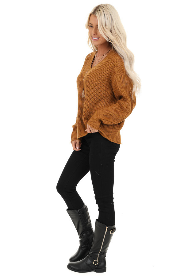 Copper Ribbed Knit Long Sleeve Sweater Top with V Neckline side full body