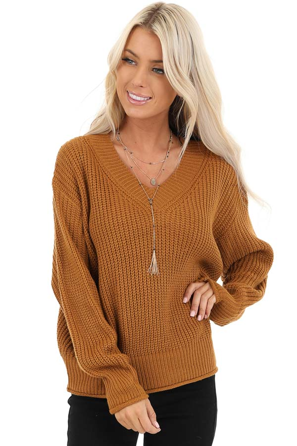 Copper Ribbed Knit Long Sleeve Sweater Top with V Neckline front close up