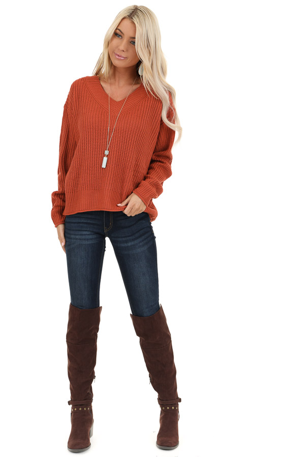 Rust Ribbed Knit Long Sleeve Sweater Top with V Neckline front full body