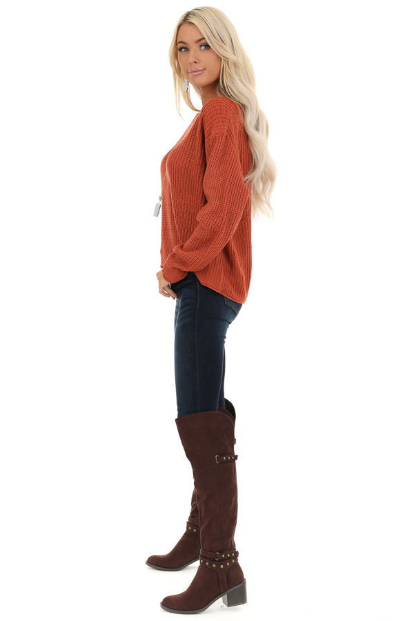 Rust Ribbed Knit Long Sleeve Sweater Top with V Neckline side full body