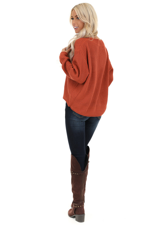 Rust Ribbed Knit Long Sleeve Sweater Top with V Neckline back full body