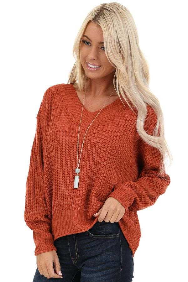 Rust Ribbed Knit Long Sleeve Sweater Top with V Neckline front close up