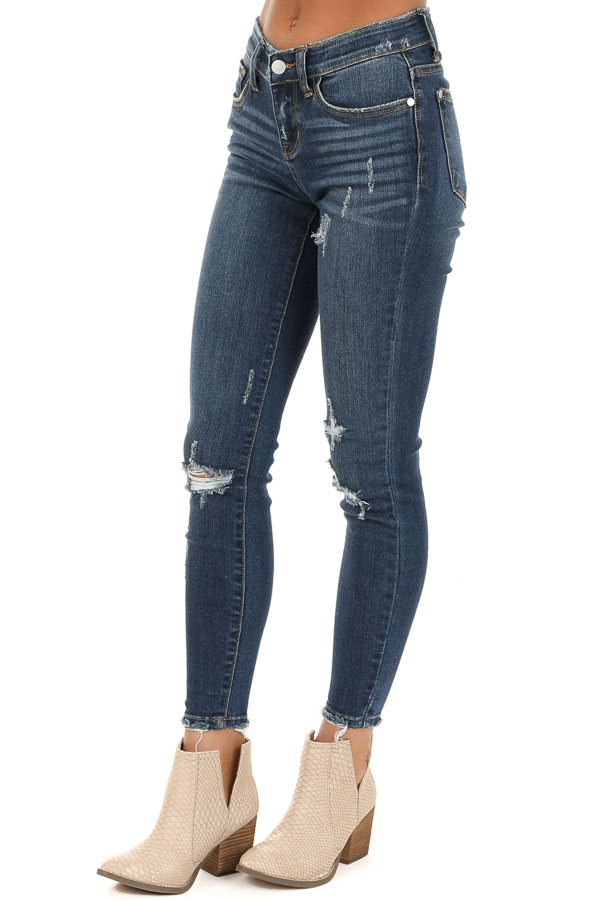 Dark Wash Mid Rise Distressed Skinny Jeans with Frayed Hem side view