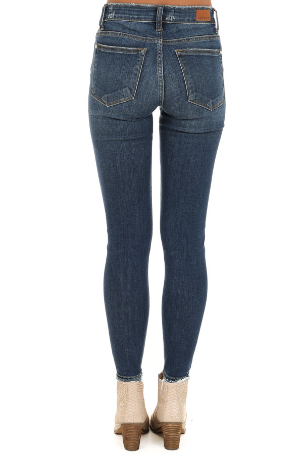 Dark Wash Mid Rise Distressed Skinny Jeans with Frayed Hem back view