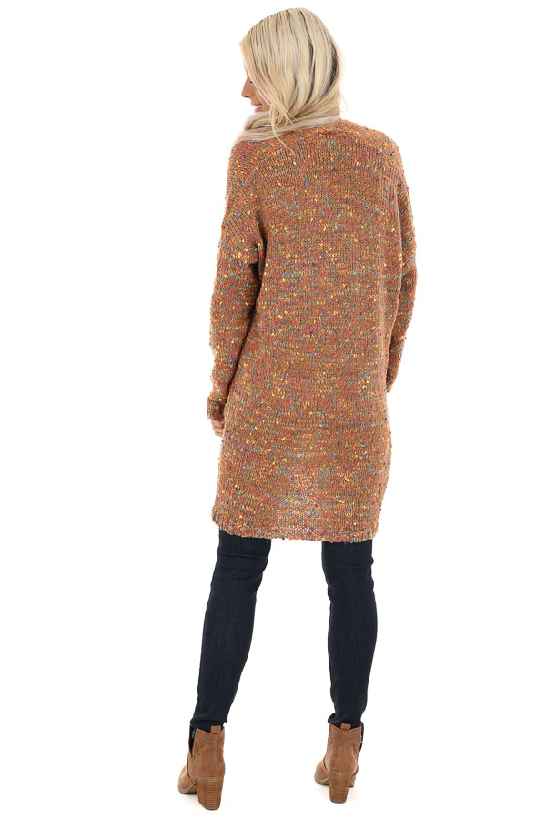 Bronze and Rainbow Confetti Knit Cardigan with Pockets back full body