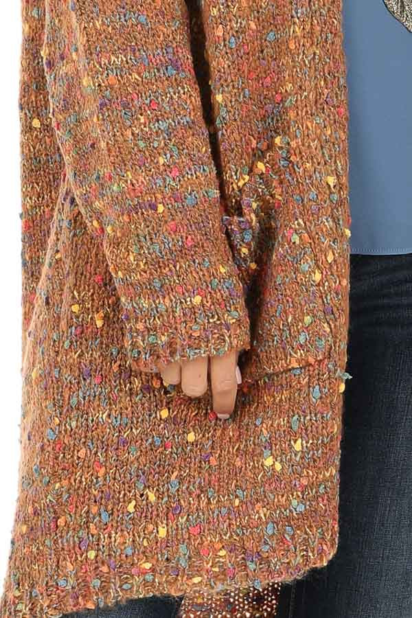 Bronze and Rainbow Confetti Knit Cardigan with Pockets detail