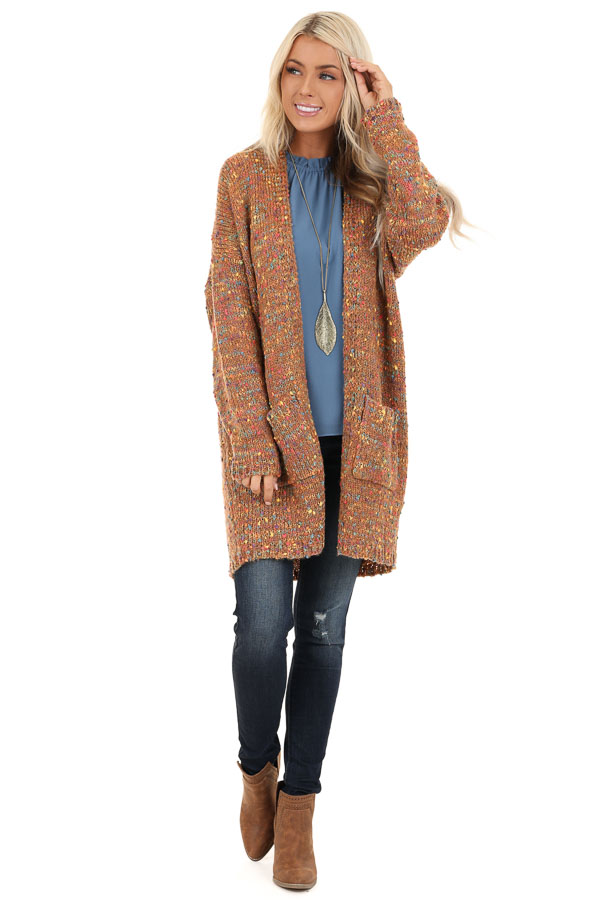 Bronze and Rainbow Confetti Knit Cardigan with Pockets front full body