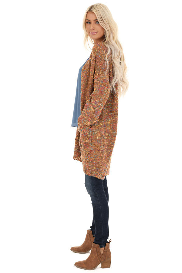 Bronze and Rainbow Confetti Knit Cardigan with Pockets side full body