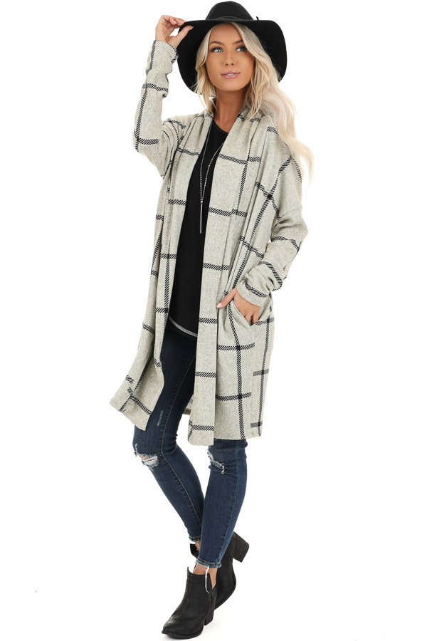 Heather Grey and Black Grid Plaid Cardigan with Pockets front full body
