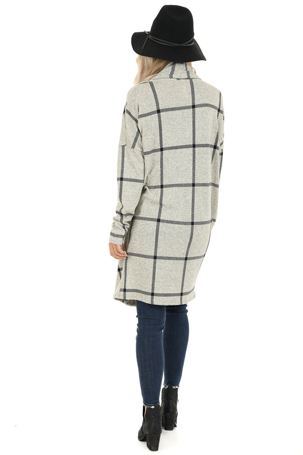 Heather Grey and Black Grid Plaid Cardigan with Pockets back full body