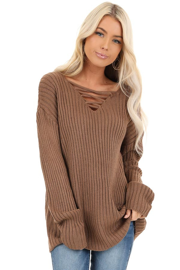 Cocoa Ribbed Knit Sweater Top with Laced Up Neckline front close up