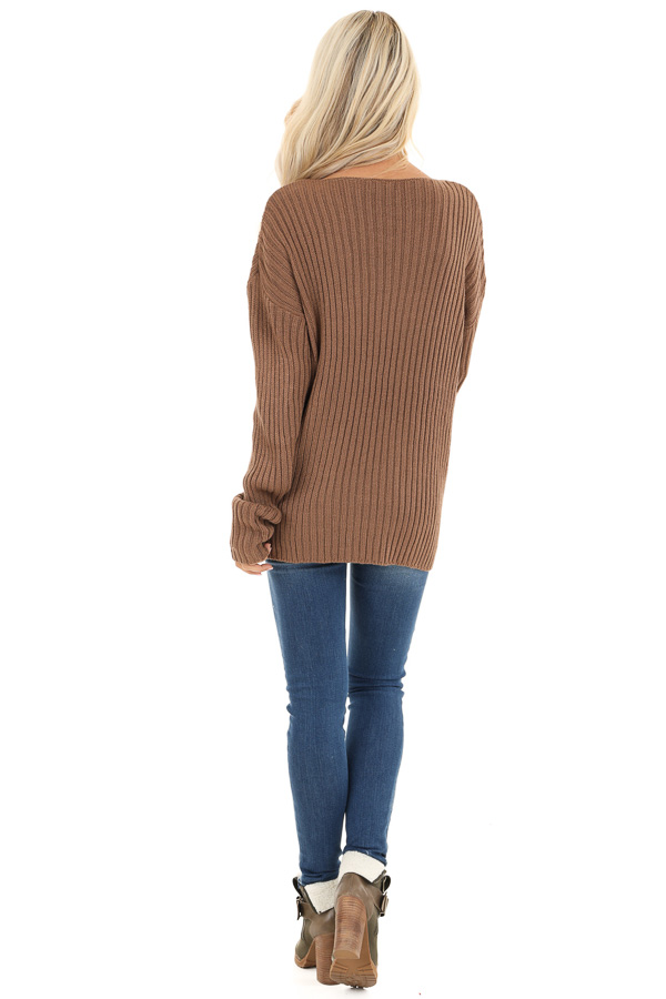 Cocoa Ribbed Knit Sweater Top with Laced Up Neckline back full body