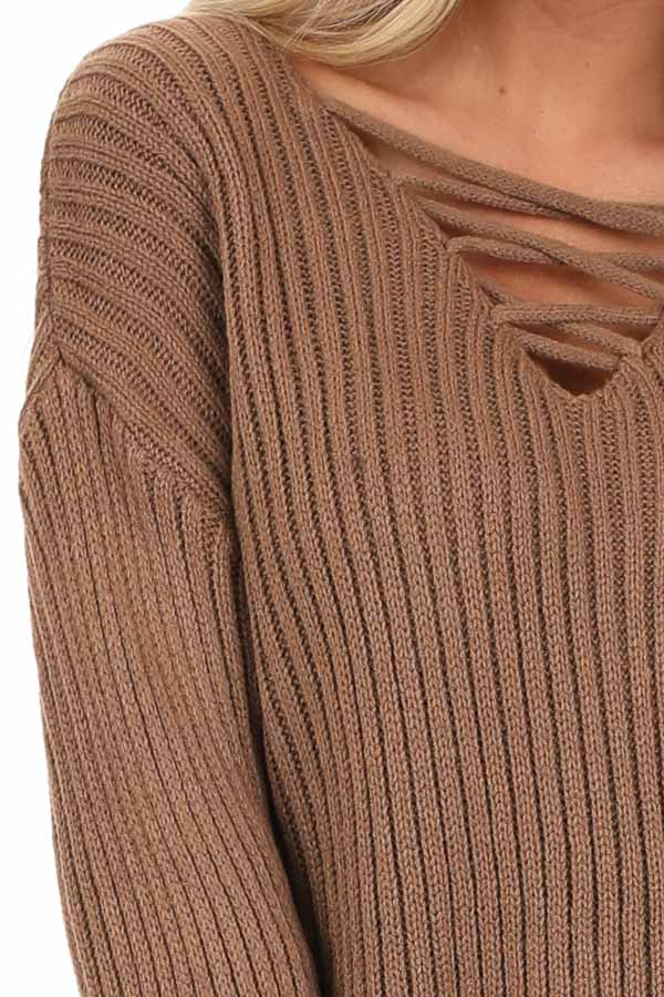 Cocoa Ribbed Knit Sweater Top with Laced Up Neckline detail