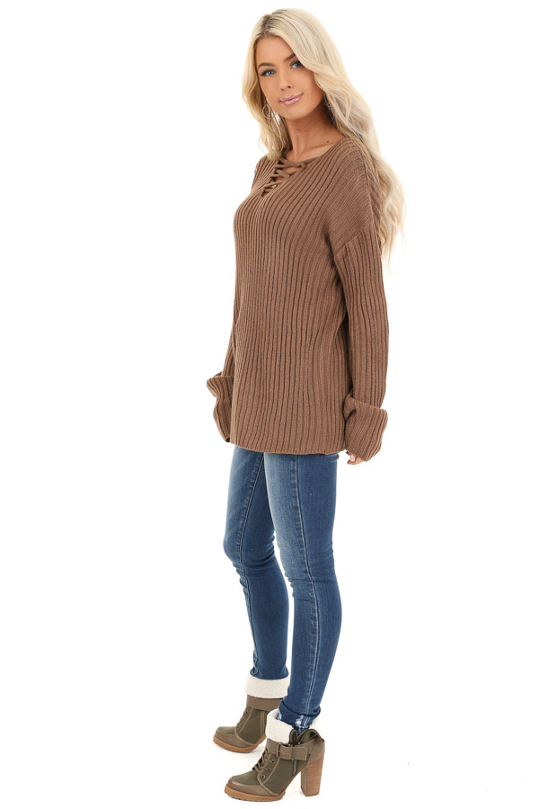 Cocoa Ribbed Knit Sweater Top with Laced Up Neckline side full body