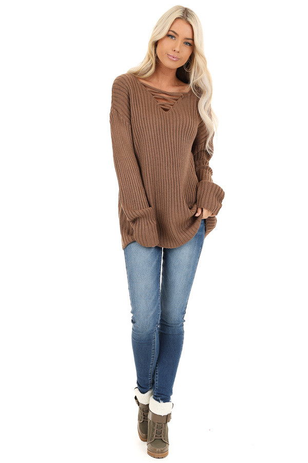 Cocoa Ribbed Knit Sweater Top with Laced Up Neckline front full body