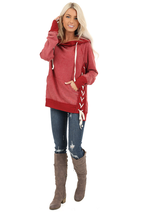 Cherry Red Acid Wash Hoodie with Lace Up Details front full body