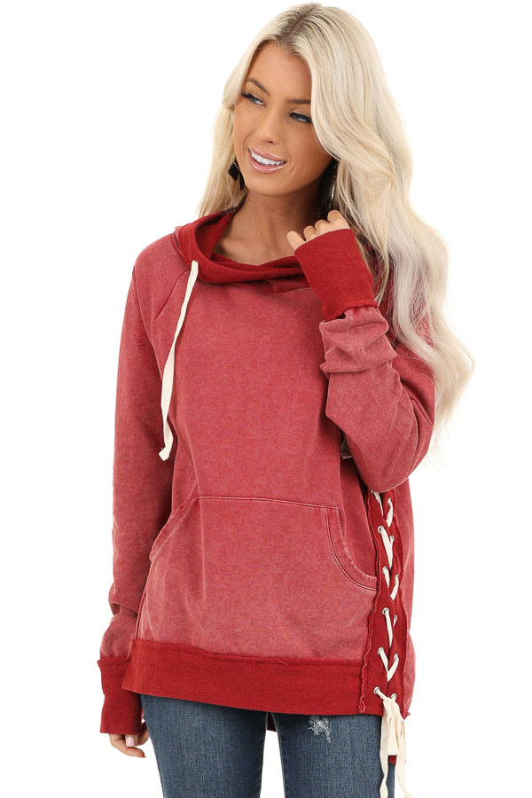 Cherry Red Acid Wash Hoodie with Lace Up Details front close up