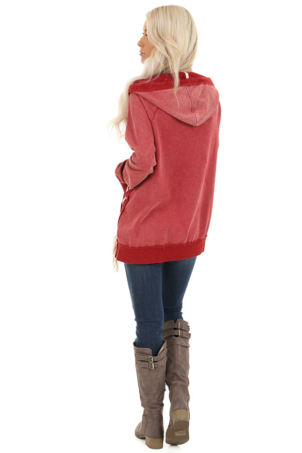 Cherry Red Acid Wash Hoodie with Lace Up Details back full body
