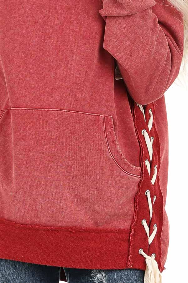 Cherry Red Acid Wash Hoodie with Lace Up Details detail