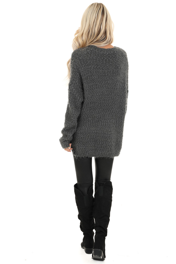 Charcoal Long Sleeve Knit Sweater back full body