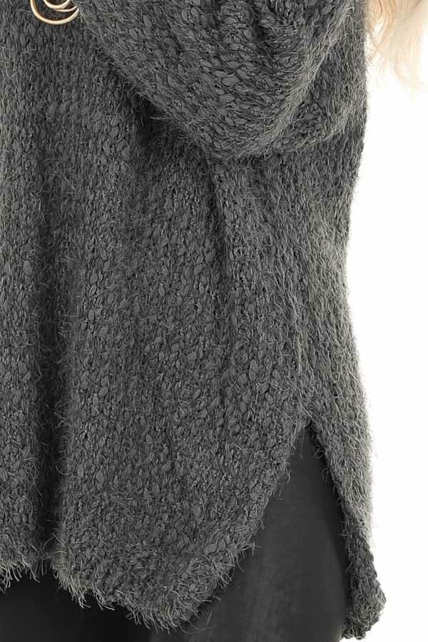 Charcoal Long Sleeve Knit Sweater detail