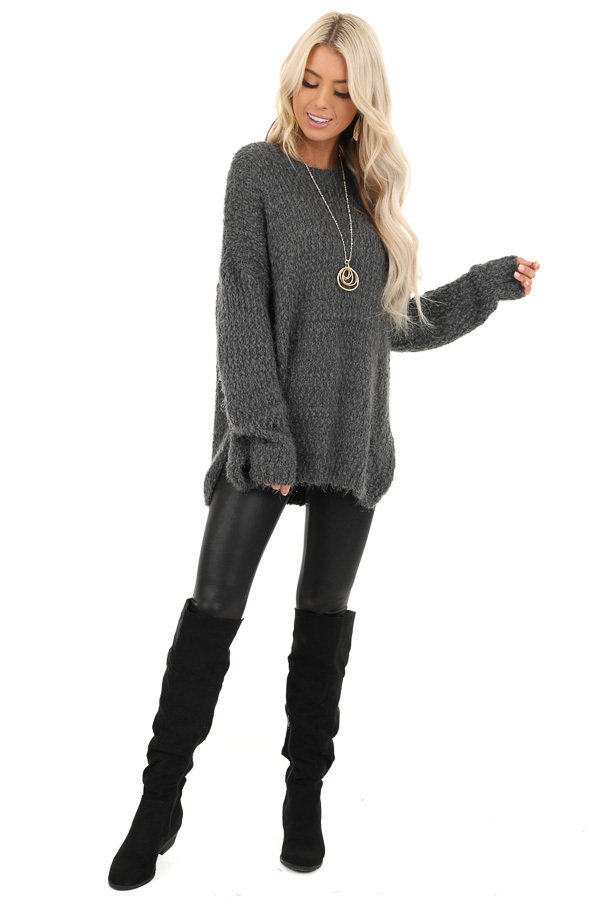 Charcoal Long Sleeve Knit Sweater front full body