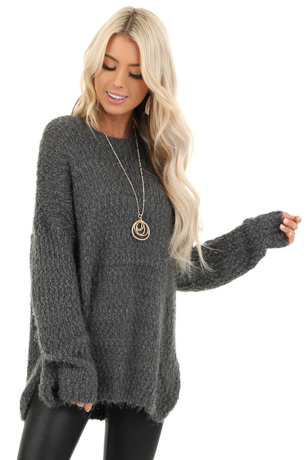 Charcoal Long Sleeve Knit Sweater front close up