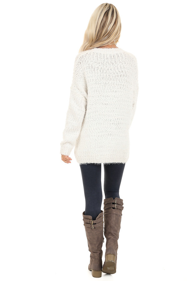 Ivory Long Sleeve Knit Sweater back full body