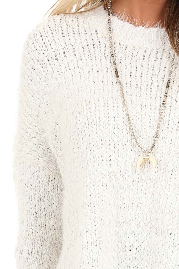 Ivory Long Sleeve Knit Sweater detail