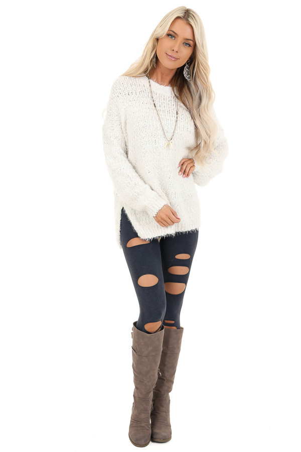 Ivory Long Sleeve Knit Sweater front full body