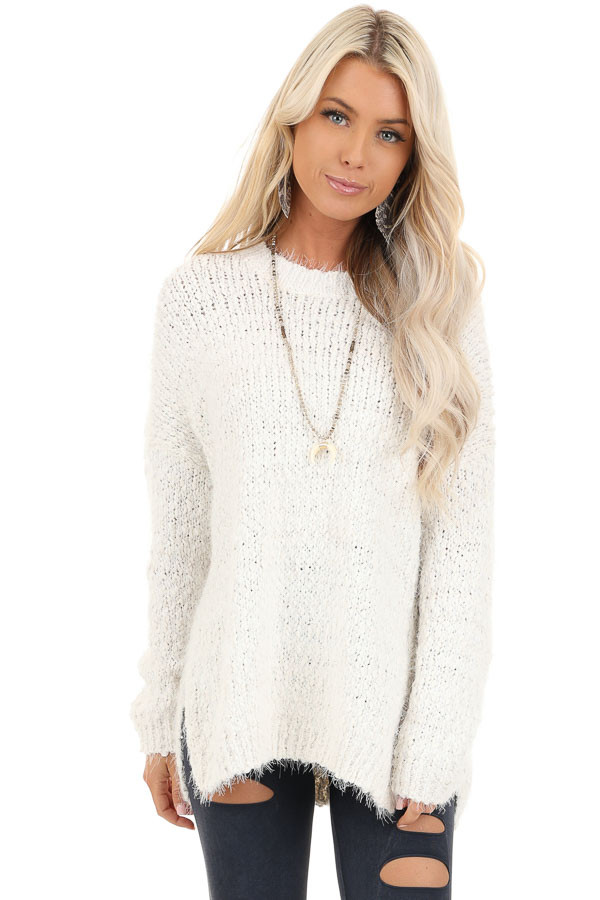 Ivory Long Sleeve Knit Sweater front close up