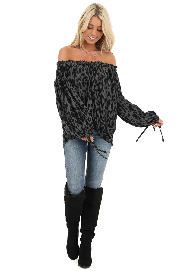 Charcoal Leopard Print Off the Shoulder Top front full body