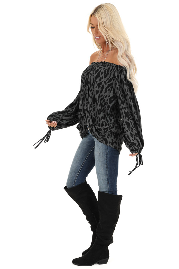 Charcoal Leopard Print Off the Shoulder Top side full body