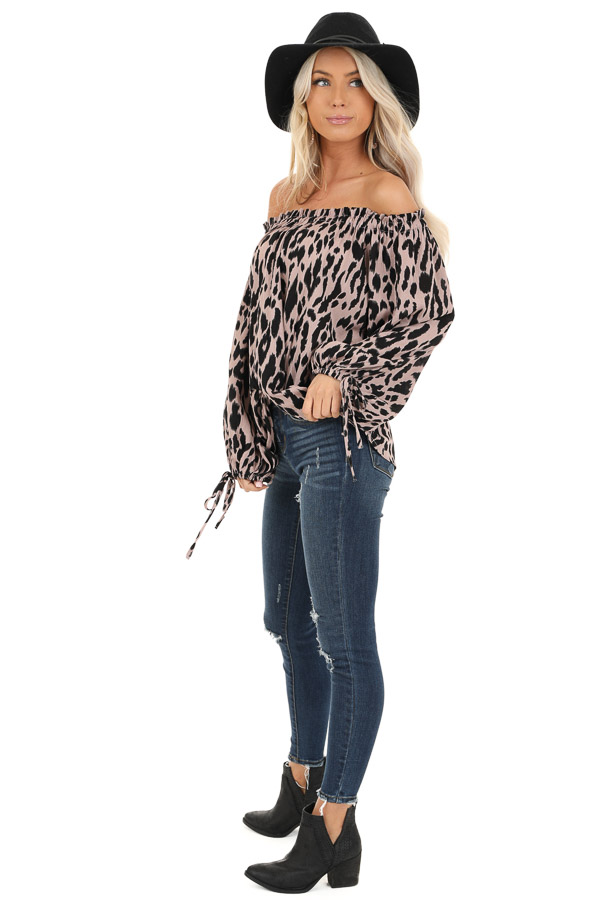 Dusty Blush Leopard Print Off the Shoulder Top side full body