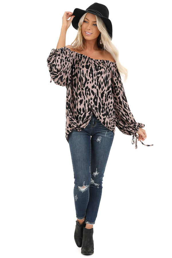 Dusty Blush Leopard Print Off the Shoulder Top front full body