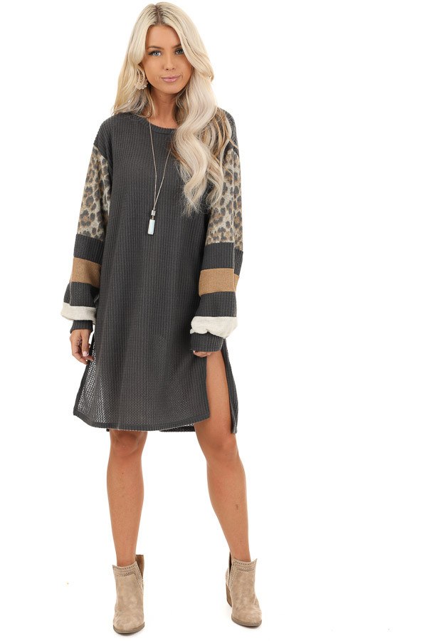 Charcoal Waffle Knit Tunic Dress with Leopard Print Sleeves front full body
