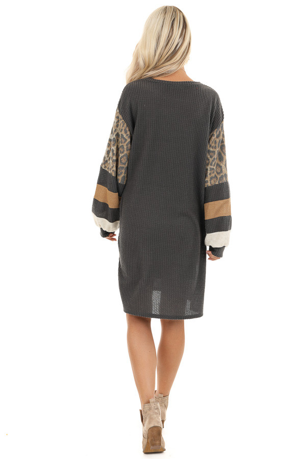 Charcoal Waffle Knit Tunic Dress with Leopard Print Sleeves back full body