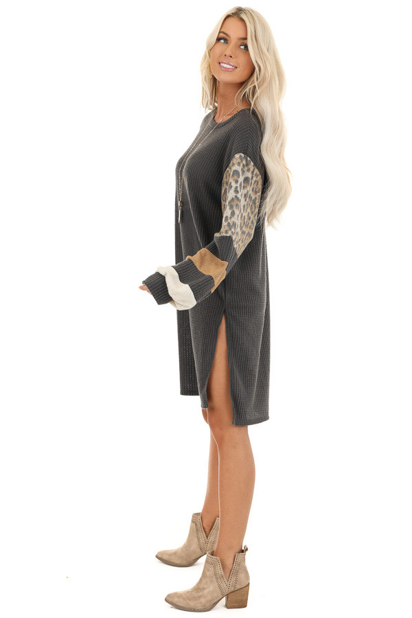 Charcoal Waffle Knit Tunic Dress with Leopard Print Sleeves side full body