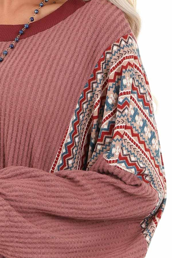 Berry Waffle Knit Top with Multi Color Aztec Print Contrast detail