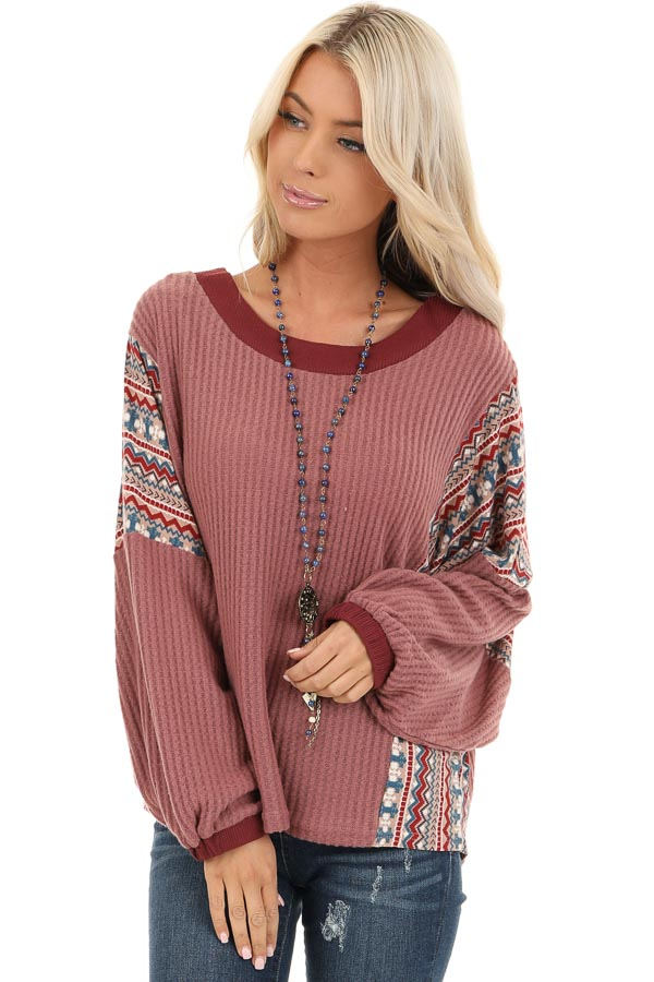 Berry Waffle Knit Top with Multi Color Aztec Print Contrast front close up