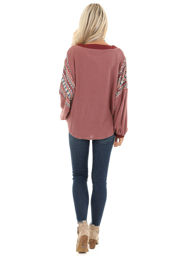 Berry Waffle Knit Top with Multi Color Aztec Print Contrast back full body