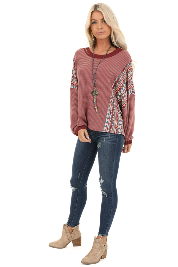 Berry Waffle Knit Top with Multi Color Aztec Print Contrast front full body