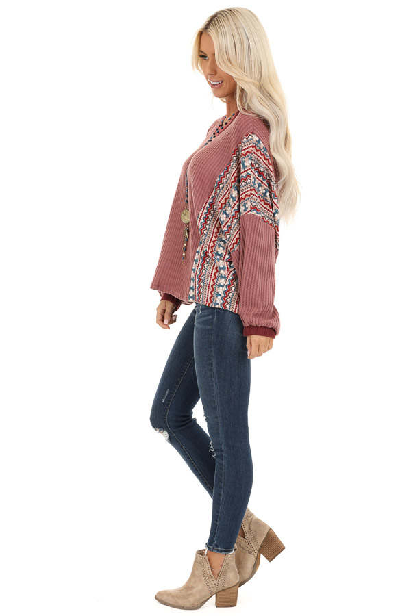 Berry Waffle Knit Top with Multi Color Aztec Print Contrast side full body