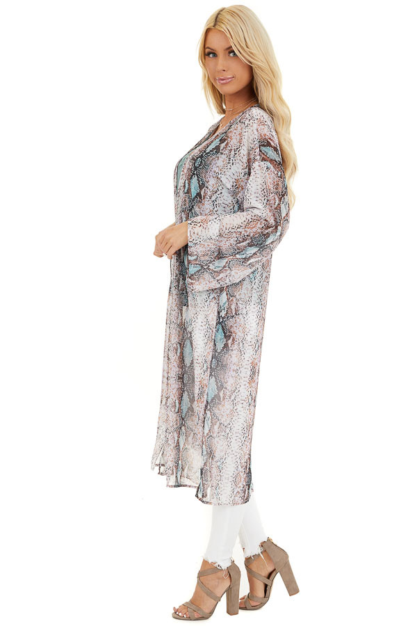 Multicolor Snake Print Open Front Kimono with Pockets side full body