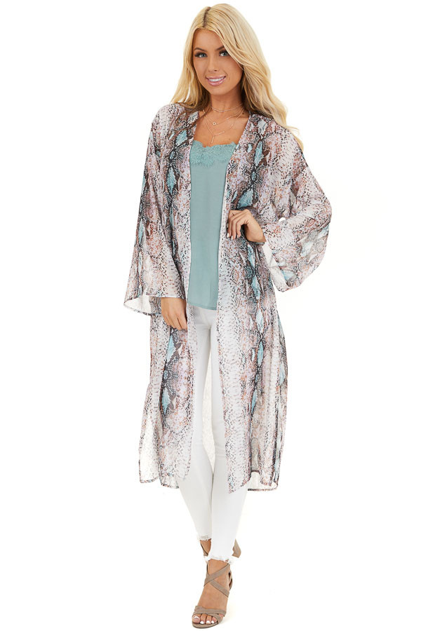 Multicolor Snake Print Open Front Kimono with Pockets front full body